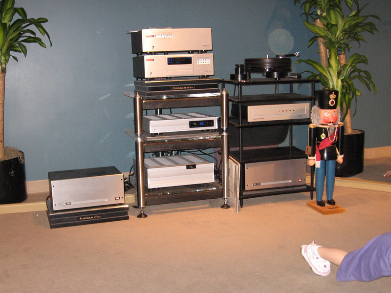 Equipment used with the 5A's: EMM Labs transport and DAC, VTL reference preamp, bridged BEL 1001 amps. the analog equipment wasn't used in the demo.