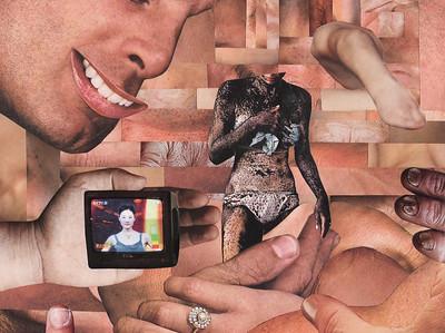 """Overstimulation"" (magazine collage) by Noelle Dederer"