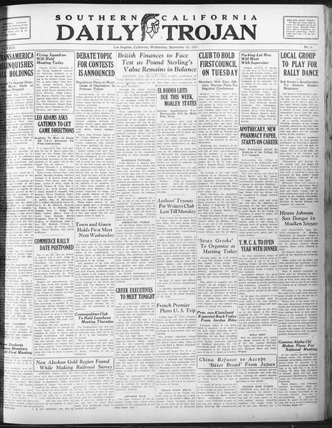 Daily Trojan, Vol. 23, No. 9, September 23, 1931