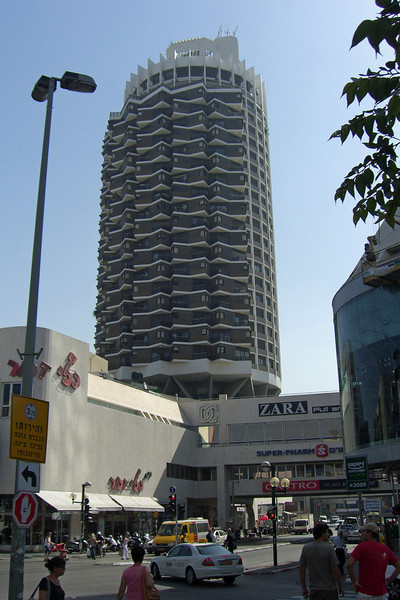 45-Dizengoff Center, looking east on Dizengoff. The tower is 24 stories, residential, built 1986.