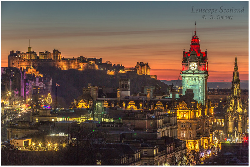 Edinburgh Castle and central Edinburgh from Calton Hill at dusk (07)