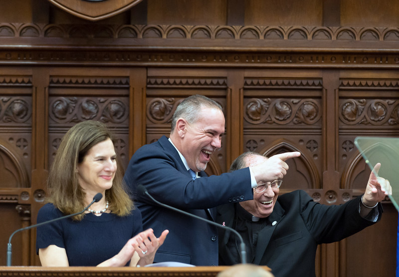 01/09/19  Wesley Bunnell | Staff  State Rep. and House Majority Leader Joe Aresimowicz stands with Lt. Governor Susan Bysiewicz, L, after Governor Ned Lamont's State of the State address.