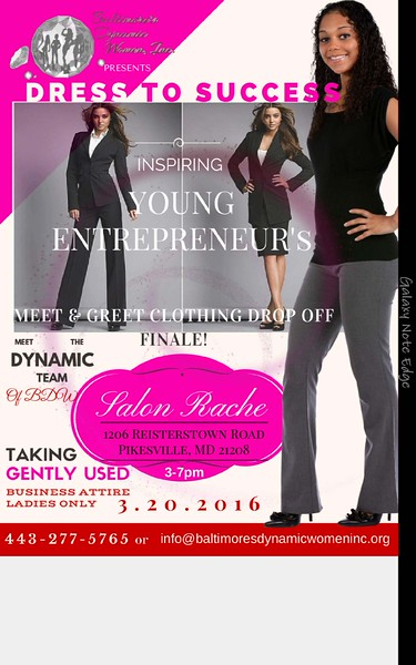 Baltimore Dynamic Woman Presents: Dress To Success: Inspiring Young Entrepreneur': Meet & Greet Clothing Drop Off Finale @ Salon Rache 3.20.16