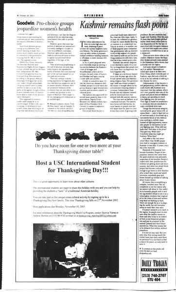 Daily Trojan, Vol. 150, No. 44, October 28, 2003