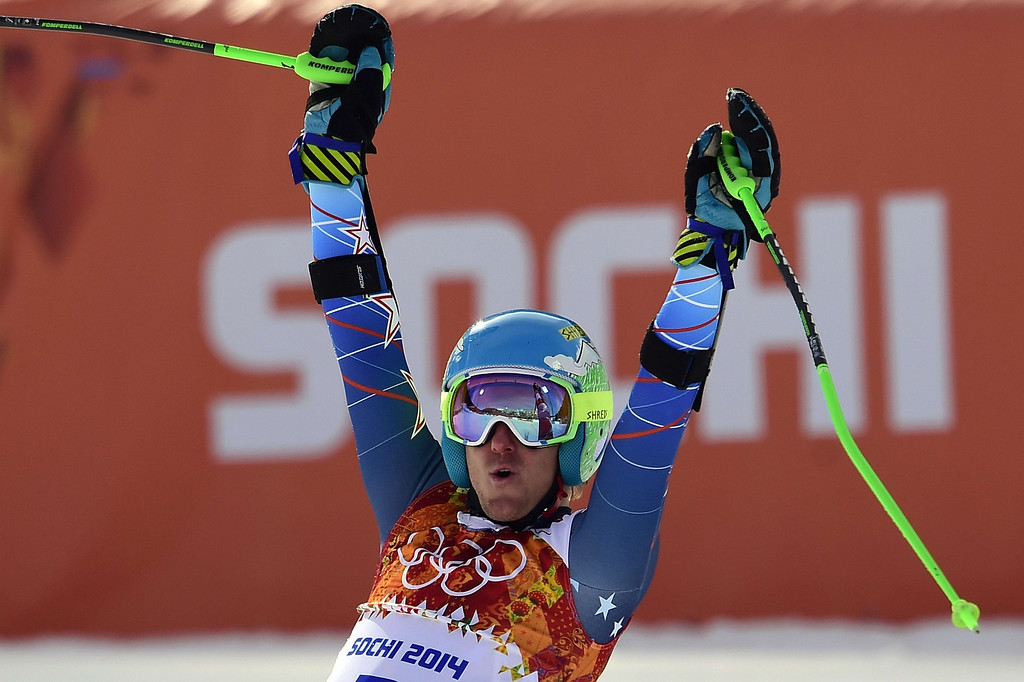 . US skier Ted Ligety celebrates after winning the Men\'s Alpine Skiing Giant Slalom at the Rosa Khutor Alpine Center during the Sochi Winter Olympics on February 19, 2014. AFP PHOTO / OLIVIER MORIN/AFP/Getty Images