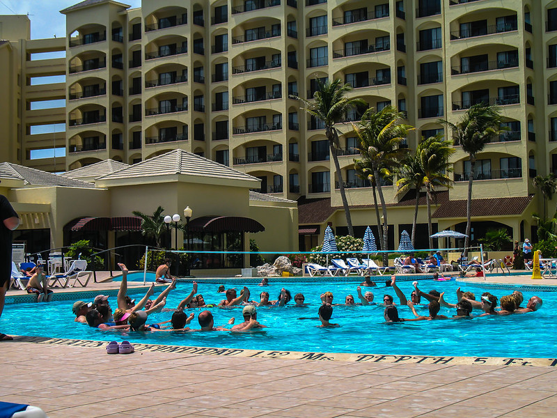 Royal Caribbean pool with exercise session.