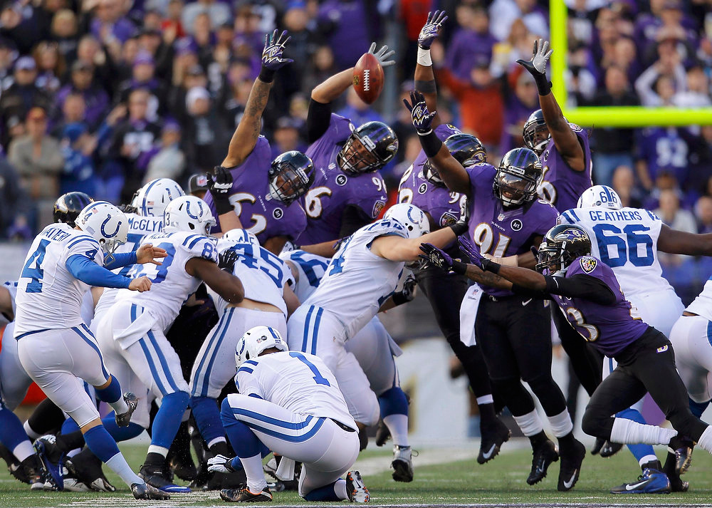 Description of . Indianapolis Colts kicker Adam Vinatieri kicks a field goal through the arms of the Baltimore Ravens during the first half of their NFL AFC wildcard playoff game in Baltimore January 6, 2013. REUTERS/Gary Cameron