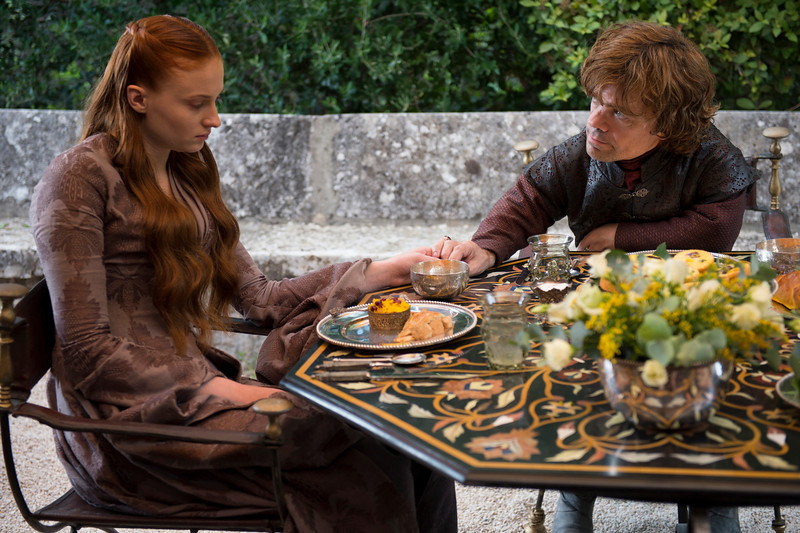 . Game of Thrones, Season 4: Sophie Turner and Peter Dinklage. (Photo by Macall B. Polay)