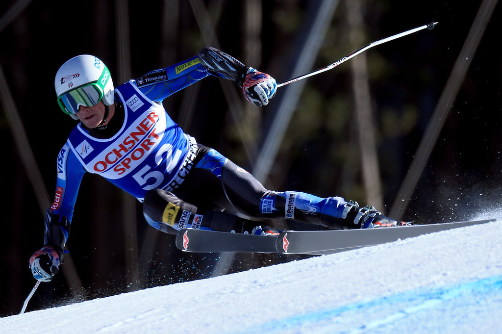 . Brennan Rubie of the USA skis to 27th place in the men\'s Super G on the Birds of Prey at the Audi FIS World Cup on December 1, 2012 in Beaver Creek, Colorado.  (Photo by Doug Pensinger/Getty Images)