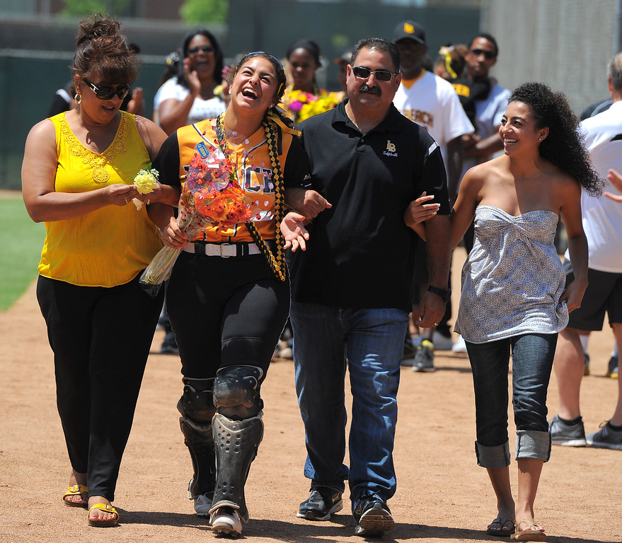 . Senior Karli Sandoval and her family before LBSU lost to Cal Poly softball 3-0 in Long Beach, CA on Sunday, May 4, 2014.  (Photo by Scott Varley, Daily Breeze)