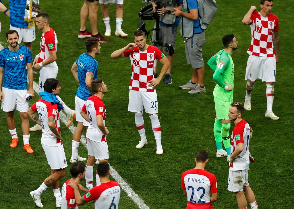 . Croatian player after the final match between France and Croatia at the 2018 soccer World Cup in the Luzhniki Stadium in Moscow, Russia, Sunday, July 15, 2018. (AP Photo/Frank Augstein)