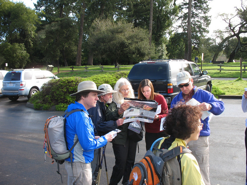 After being caffeinated and energized by our meeting spot at the Bovine Bakery in Point Reyes Station, here we are at the trailhead talking with Paige about the route.
