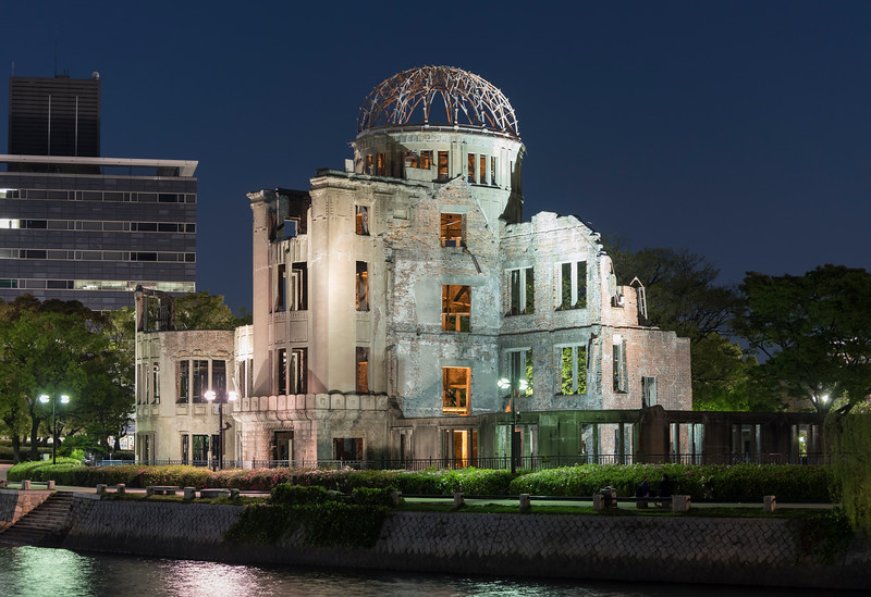 Atomic Bomb Dome at Hiroshima Peace Memorial by night, Japan