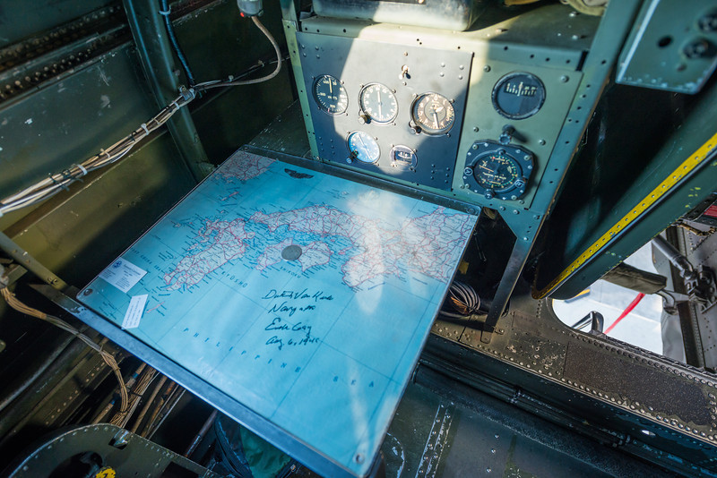 A map on the navigator station, signed by the last surviving member of the B-29 Enola Gay crew, Dutch Van Kirk.