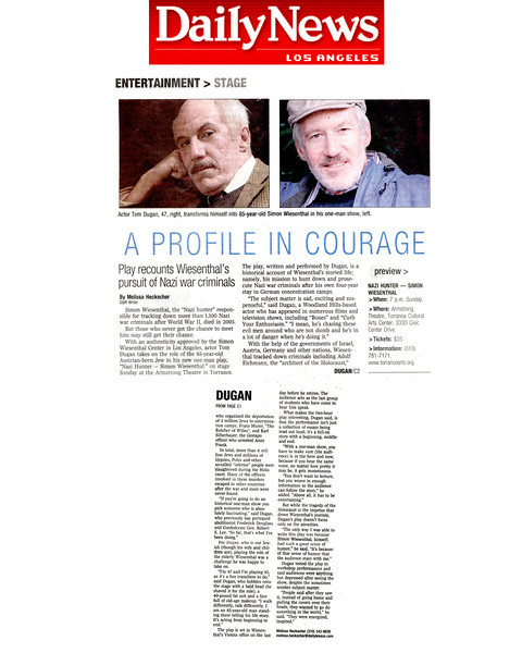 Wiesenthal Press Clippings and Reviews