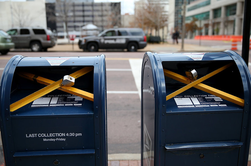 . Locks are seen on mailboxes across from the Buzz Westfall Justice Center on November 24, 2014 in Clayton, Missouri. A St. Louis County grand jury  has reached a decision on whether or not to charge Officer Darren Wilson in the shooting of Michael Brown that sparked riots in Ferguson, Missouri last August.   (Photo by Justin Sullivan/Getty Images)