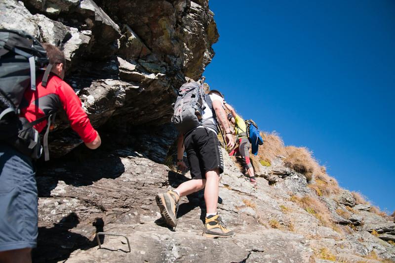 Gipfelanstieg, leichte Kletterei (I-II)