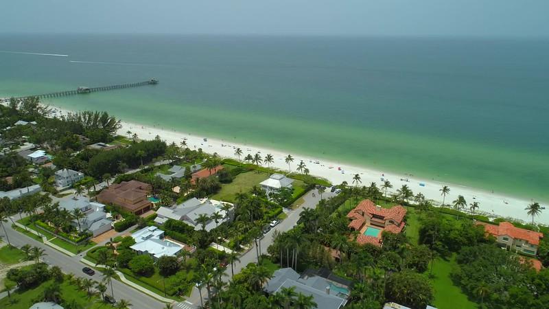 Aerial video Naples Beach coastal waterfront property