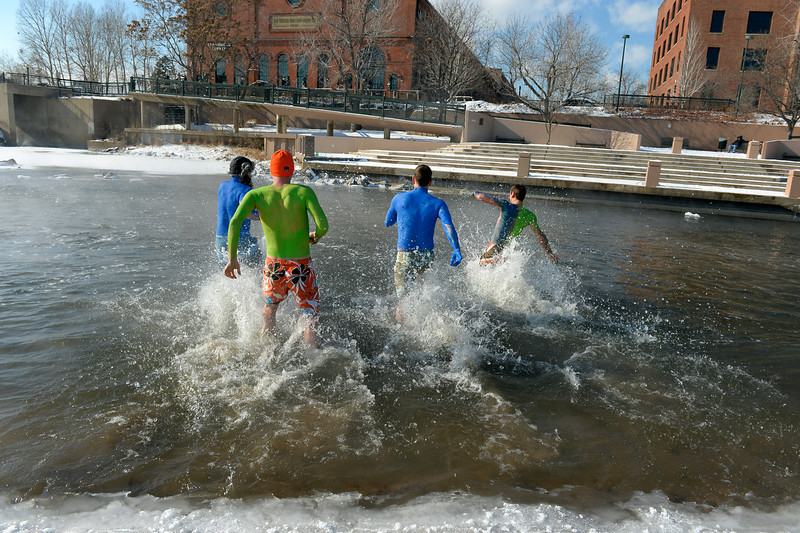 . Denver Beer Co. brewers (l-r) Austin Wiley, Charlie Berger, Nick Bruno and Patrick Crawford race into the South Platte River at Confluence Park in Denver, CO February 06, 2014. (Photo By Craig F. Walker / The Denver Post)
