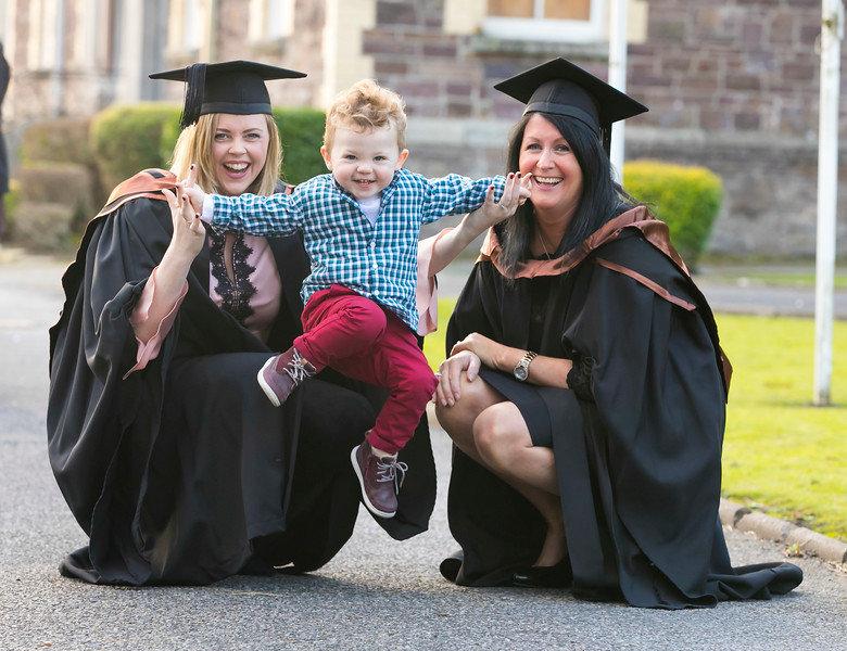 01/11/2017. FREE TO USE IMAGE. WIT (Waterford Institute of Technology) Conferring, Waterford City are Edwina Bell Dunmore East with her son Harvey and Catherine Doherty Waterford City who graduated HDip. in Science. Picture: Patrick Browne