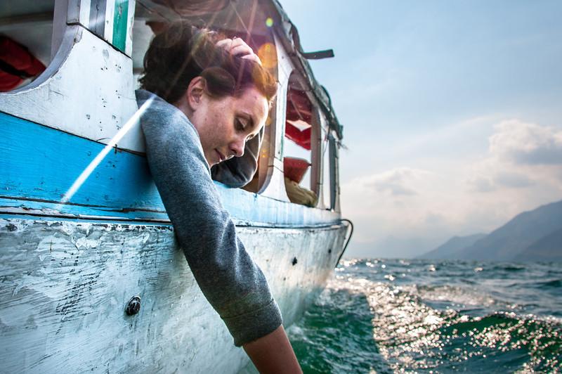 On a water taxi in Lake Atitlan, Guatemala