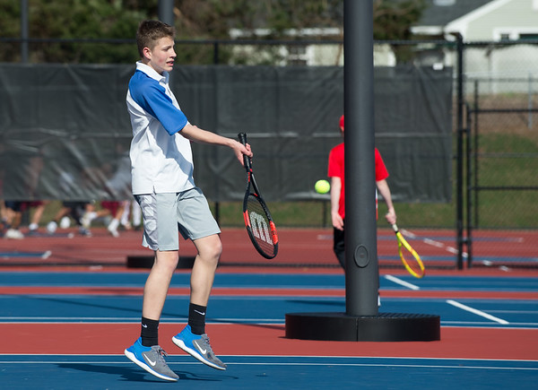 04/16/19 Wesley Bunnell | Staff Bristol Eastern boys tennis at Berlin on Tuesday afternoon. Bristol Eastern's Andrew Anulewicz.