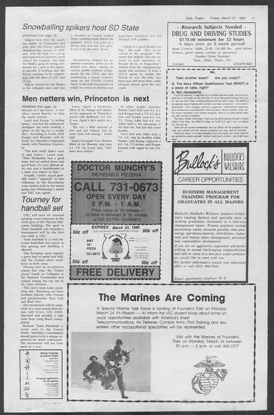 Daily Trojan, Vol. 88, No. 33, March 21, 1980