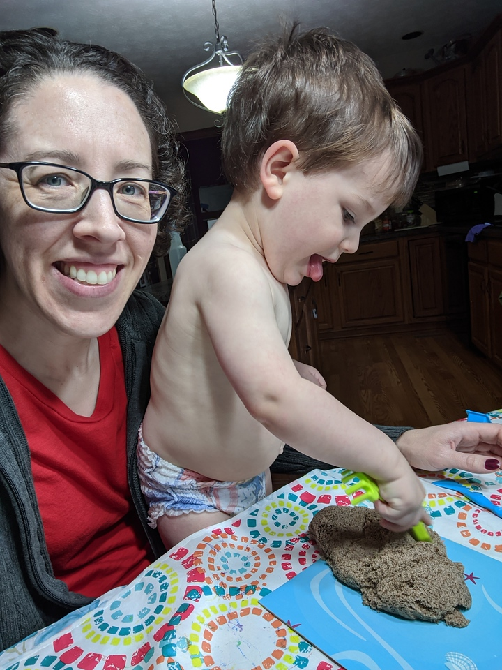 Lisa and Jack, kinetic sand, Apr 23, 2020