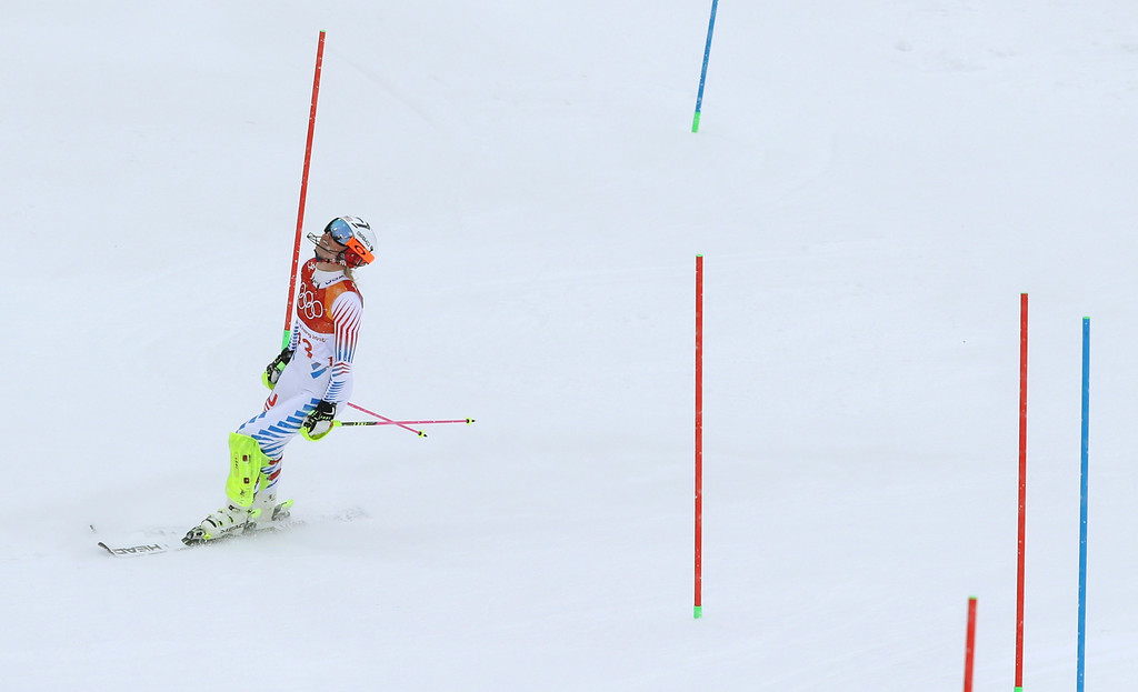 . United States\' Lindsey Vonn reacts after skiing out in the women\'s combined slalom at the 2018 Winter Olympics in Jeongseon, South Korea, Thursday, Feb. 22, 2018. (AP Photo/Alessandro Trovati)