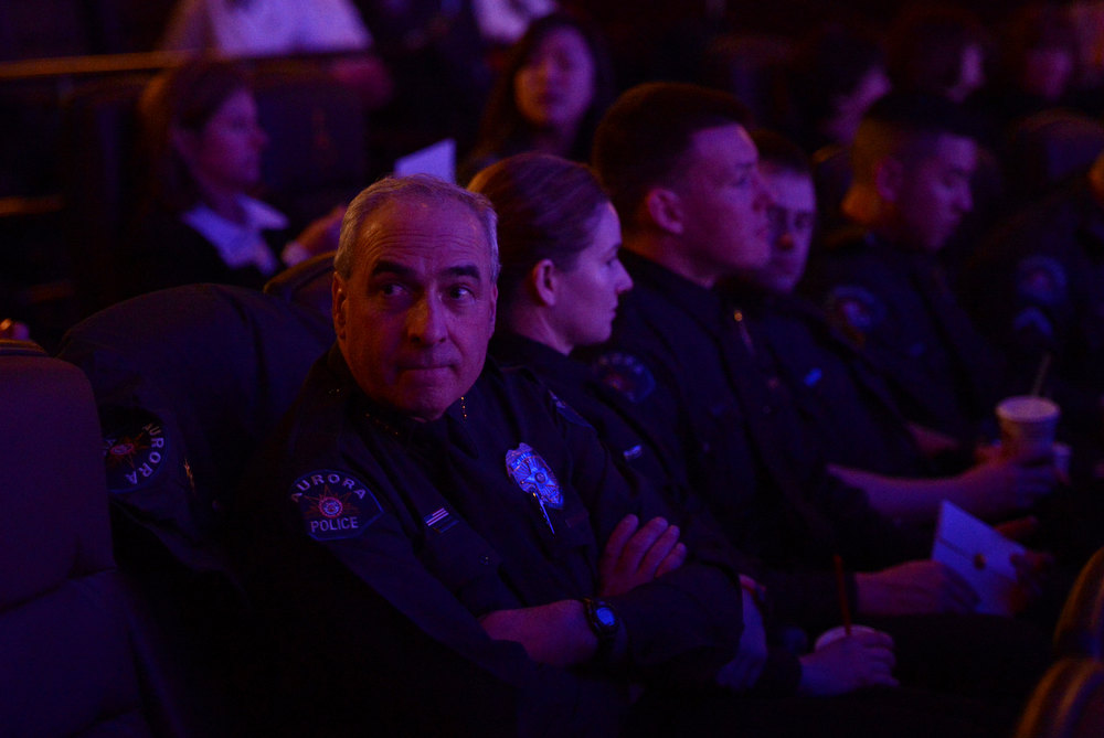 Description of . AURORA, CO. - JANUARY 17:  Daniel J. Oates the police chief in Aurora during the reopening and remembrance in Theater I XD  of the Century Aurora Theater. James Holmes is accused of killing 12 people and wounding 70 others on July 20, 2012 in theater 9. (Photo By RJ Sangosti / The Denver Post)