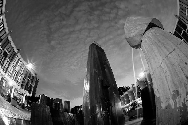 Lake Anne Plaza fountain in twilight b/w