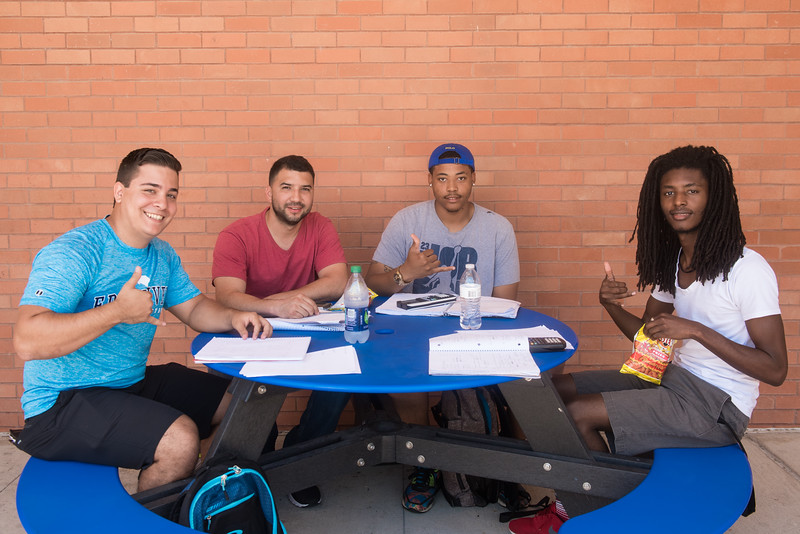 A group of Islander students study outside the Center for Instruction building.