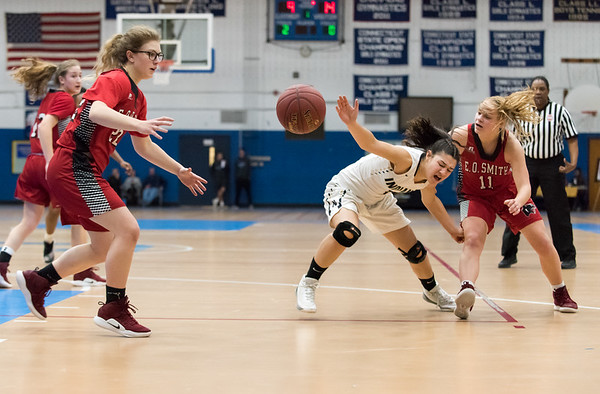 02/21/19 Wesley Bunnell | Staff Newington girls basketball vs E.O. Smith in the CCC Conference Championship game played at Glastonbury High School. Sabrina Soler (1) loses control of the ball which results in a turnover.
