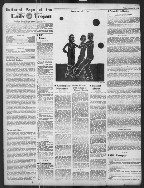 Daily Trojan, Vol. 27, No. 88, February 28, 1936