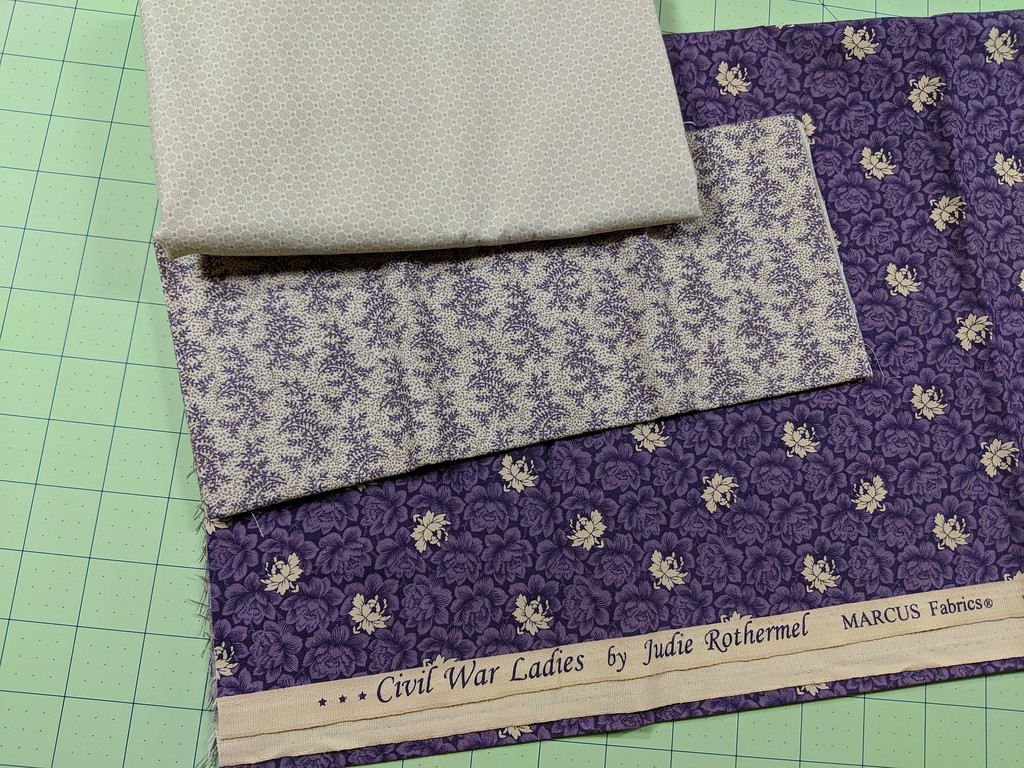 Fabrics for my Louisiana block, including