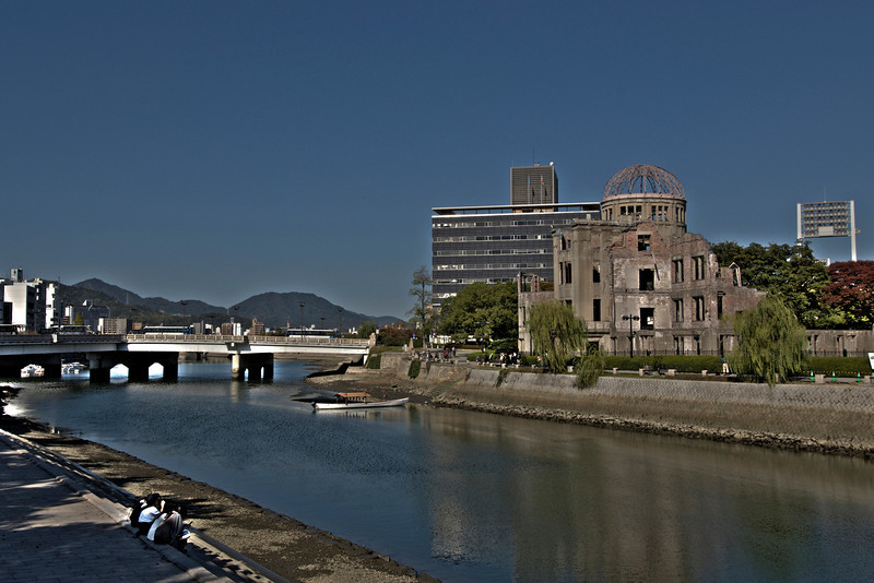 Beautiful calm river fronting the Atomic Bomb Dome in Hiroshima, Japan