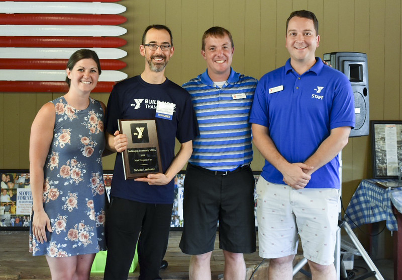 07/25/19  Photo submitted by Brittany Tripp  The YMCA held their annual Donor, Member, & Volunteer Appreciation Picnic and Sloper Hall of Fame Inductions at Camp Sloper on Thursday evening July 25, 2019.  Membership Director Jacqueline Seeger, award winner for most visits of 532 in 2018 Nicholas Leadbeater, Chief Executive Officer of Southington-Cheshire Community YMCA's Mark Pooler and Southington YMCA branch Executive Director Jay Jaronko.
