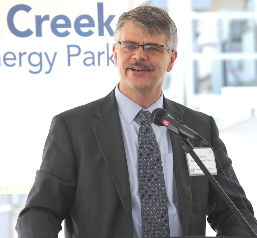 . Ron Litzinger, President of Southern Califrornia Edison, as Edison Mission Energy dedicates their new Walnut Creek Energy Park in the City of Industry on Friday May 9, 2013. The 479 mega-watt project can produce enough energy to power 165,000 home air conditioning systems in the Los Angeles area. (SGVN/Staff Photo by Keith Durflinger)