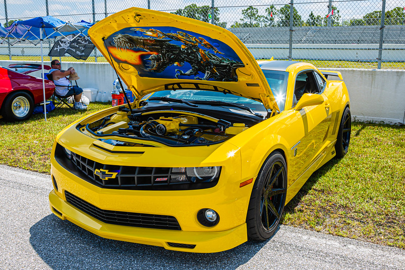 A 2012 Chevy Camaro adorned with Bumblee livery under the hood, owned by Wayne Severnsky of West Palm Beach at Palm Beach International Raceway on Saturday, May 25, 2019. [JOSEPH FORZANO/palmbeachpost.com]