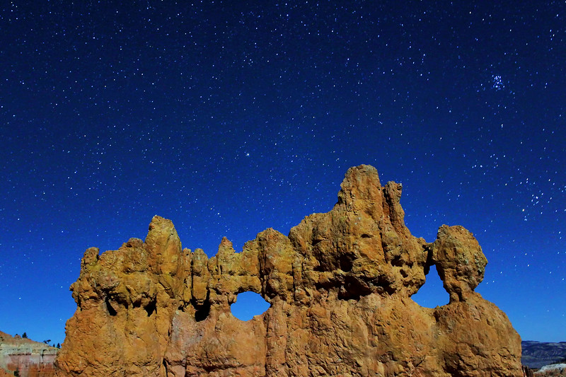 Starfield and hoodoo formation, Bryce National Park, Utah, USA.