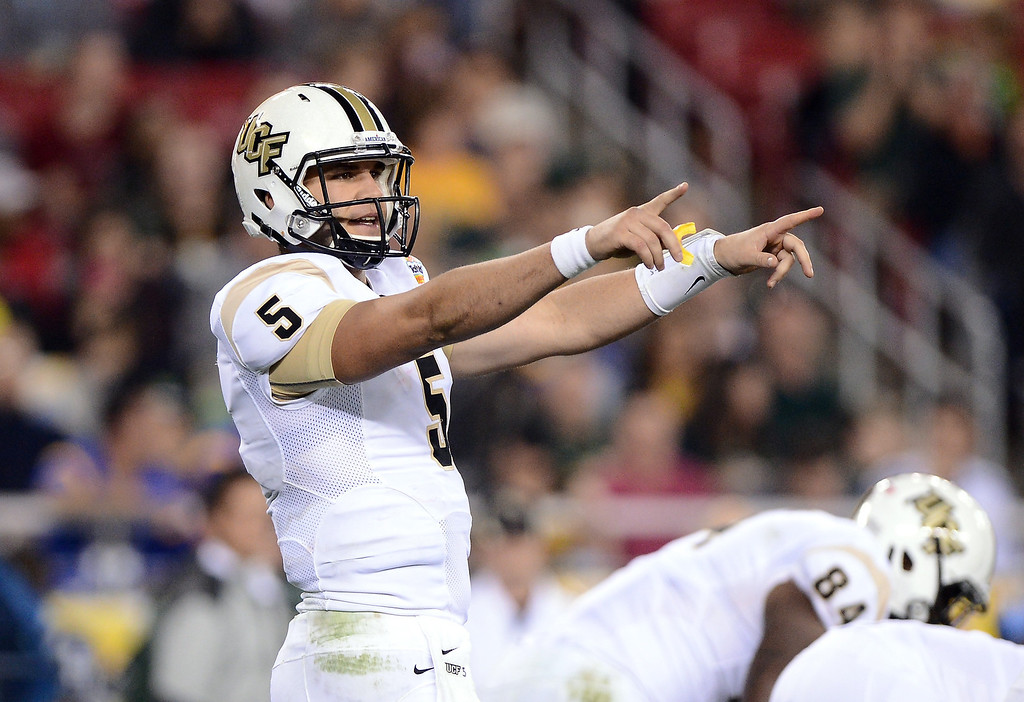 . Quarterback Blake Bortles #5 of the UCF Knights looks on against the Baylor Bears during the Tostitos Fiesta Bowl at University of Phoenix Stadium on January 1, 2014 in Glendale, Arizona.  (Photo by Jennifer Stewart/Getty Images)