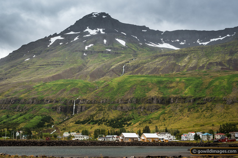 Seyðisfjörður, the colourful town and port for ferries from Denmark. Búðará River and waterfalls frame the Southern edge of town.