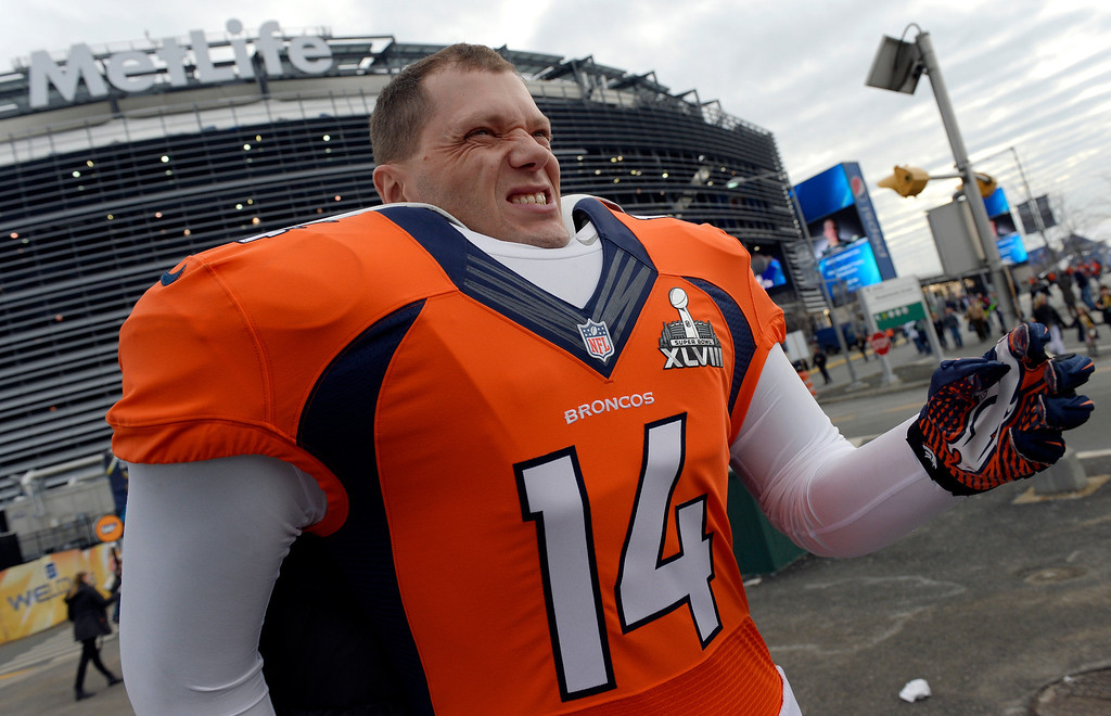 . Sandro Nigg of Calgary, Alberta shows his support for the Broncos prior to the game.  The Denver Broncos vs the Seattle Seahawks in Super Bowl XLVIII at MetLife Stadium in East Rutherford, New Jersey Sunday, February 2, 2014. (Photo by Craig Walker/The Denver Post)