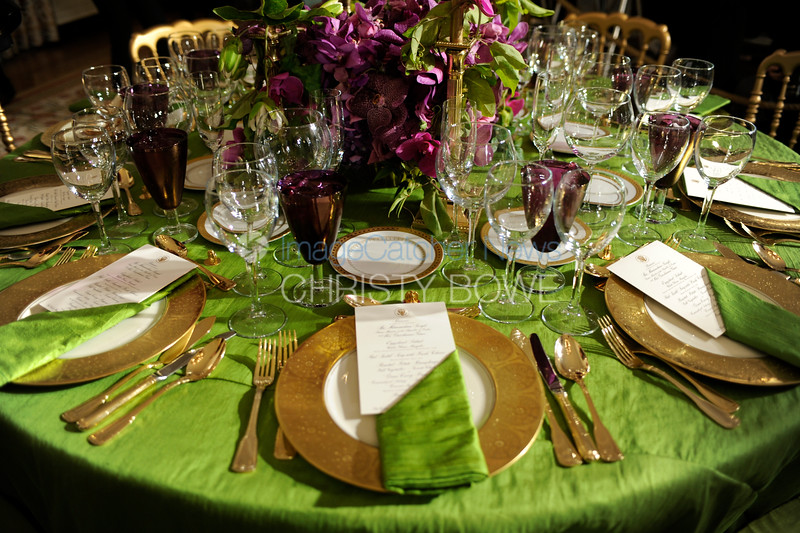 A dinner place setting of an Official State Dinner.