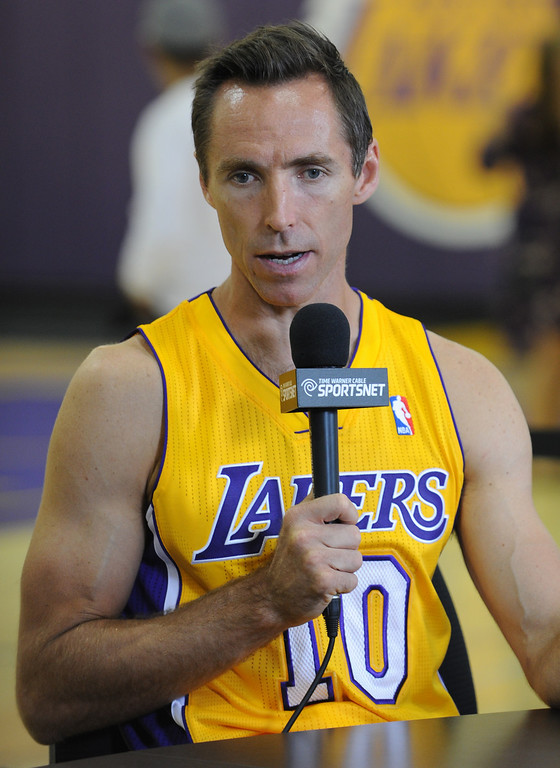 . Steve Nash is interviewed. The Los Angeles Lakers held a media day at their El Segundo practice facility. Players were photographed for team materials, and interviewed by the press. El Segundo, CA. 9/27/2013. photo by (John McCoy/Los An8eles Daily News)
