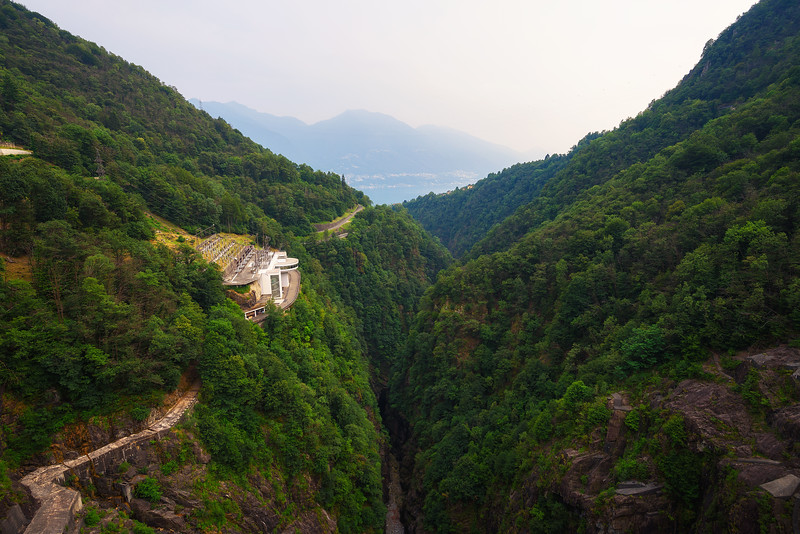 View from the Contra Dam over a hydroelectric power plant in Ticino, Switzerland