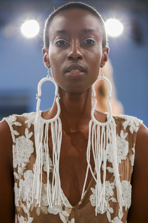 . A model presents the Tracy Reese Spring 2018 collection during New York Fashion Week, Sunday, Sept. 10, 2017. (AP Photo/Mary Altaffer)
