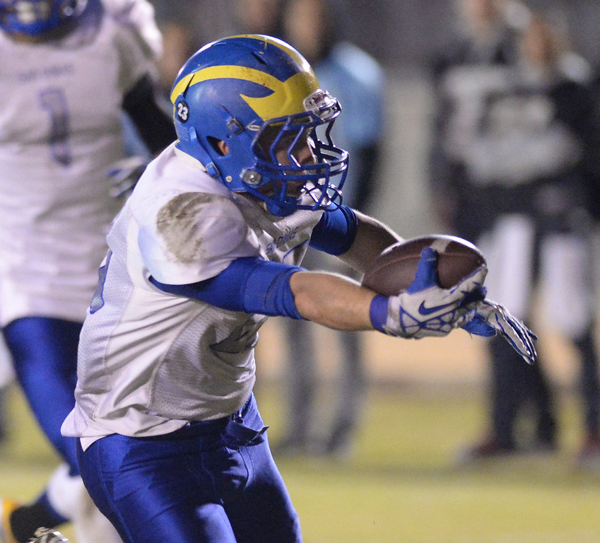 . San Dimas running back Joseph Mayorga (#23) reaches for a touchdown as they pLay Arroyo in their CIF Semi-Final football game at Arroyo High School in El Monte on Friday November 29, 2013. (San gabriel Valley Tribune/Staff Photo by Keith Durflinger)