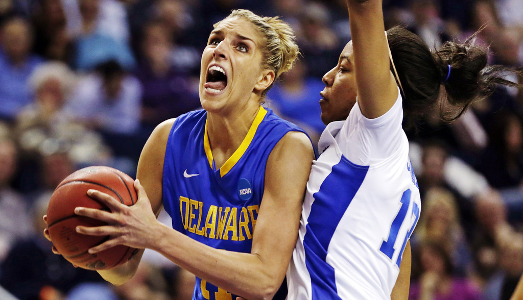 . Delaware forward Elena Delle Donne, left, drive to the basket against Kentucky forward Jelleah Sidney, right, during the second half of a regional semifinal in the NCAA college basketball tournament in Bridgeport, Conn., Saturday, March 30, 2013. Delle Donne scored 33 points, but Kentucky won 69-62. (AP Photo/Charles Krupa)