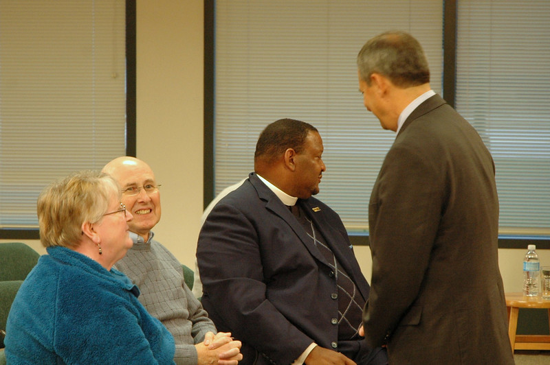 Vice president Carlos Pena meets some ELCA members.